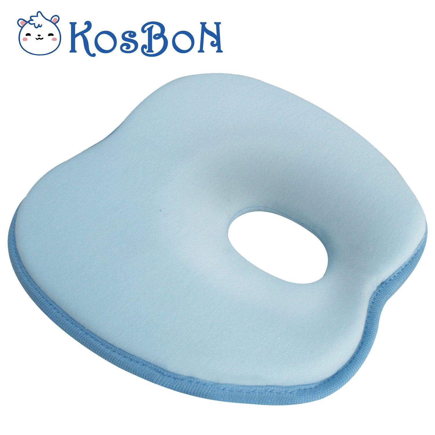 KSB Breathable Soft Memory Foam Baby Pillow Neck Support, Prevent Flat Head Syndrome For 3 Months To 1 Year Old Infant.