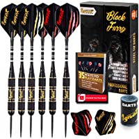 Ignat Games Professional Darts Set - Steel Tip Darts with Aluminum Shafts and 2 Style Flights + Darts Sharpener + Case, 20g Brass Darts