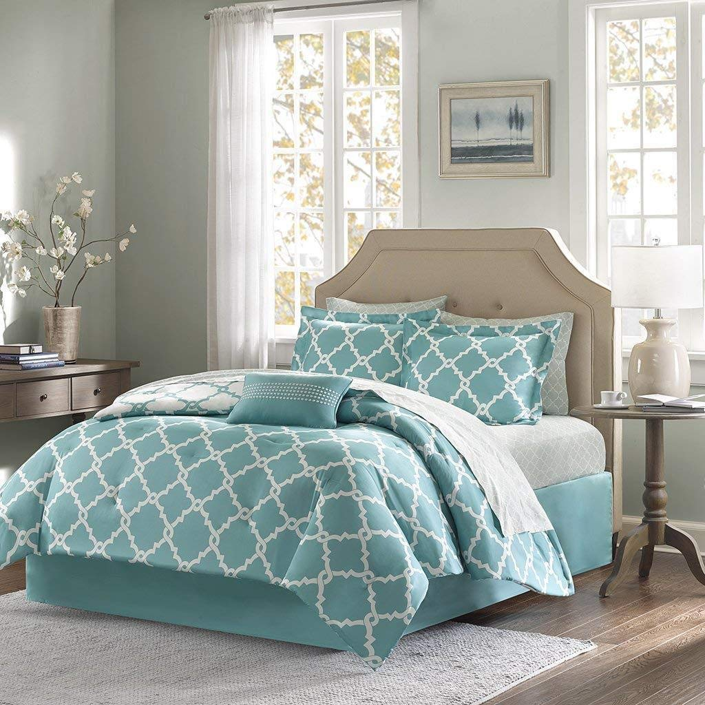 Empire Home Annissa Collection Luxurious 10-Piece Geometric Soft Comforter Set & Bed Sheets Limited-Time Sale!! (Turquoise Geo, California King)