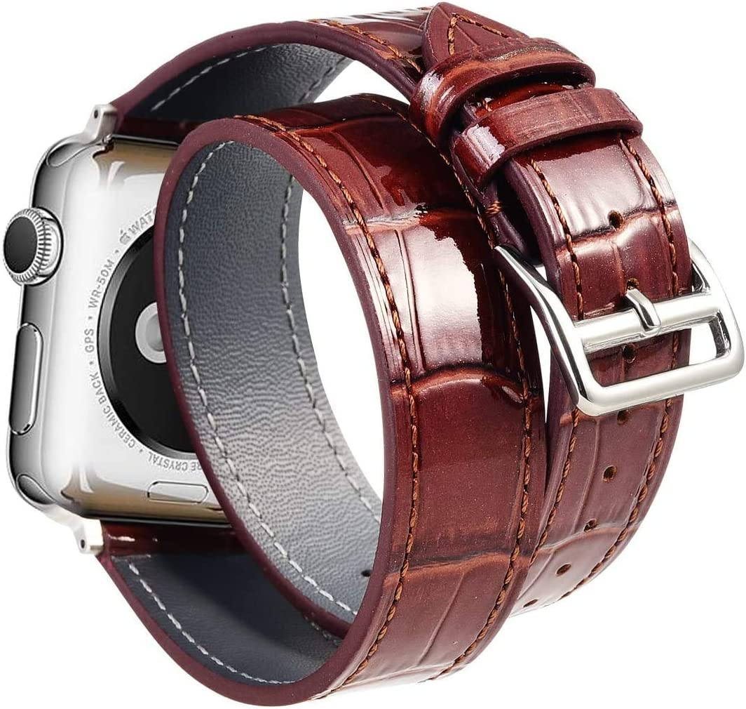 Faytop Bright Patent Genuine Leather Strap for Apple Watch Band 42mm 44mm Men,Double Wrap Crocodile Grain Leather Strap for Apple Watch Band Series 5/4/3/2/1 Brown