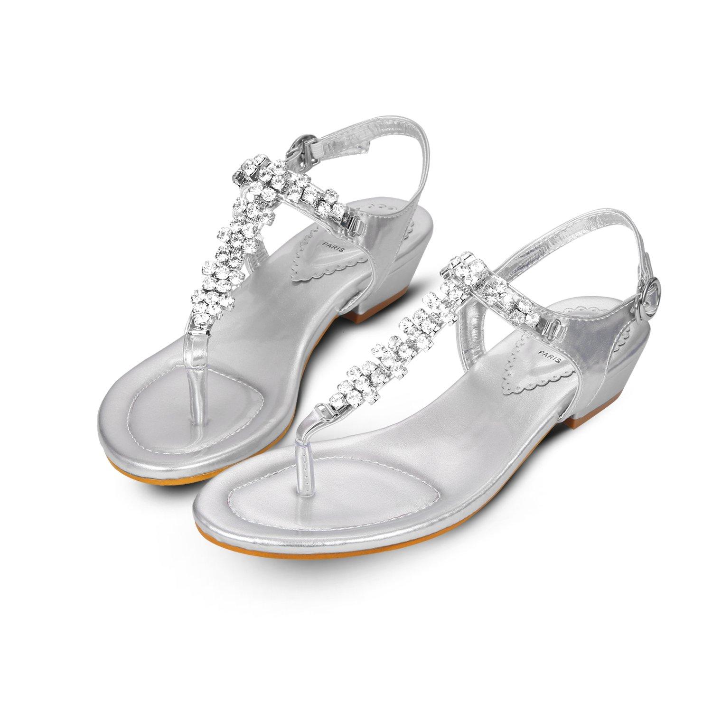 Tengyu Women's Diamond Wedding Sandals Summer Party Bridal Flats Sexy T-Strap Thong Buckle Shoes (8.5 B(M) US/40 EU/25cm)