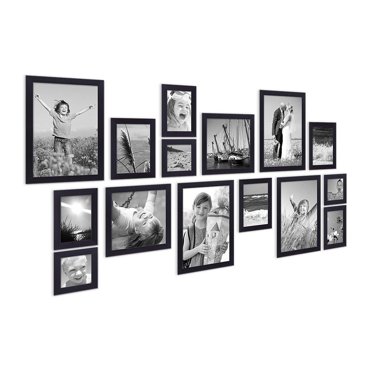 Amazon.de: Photolini 15er Set Bilderrahmen Modern Schwarz aus MDF ...