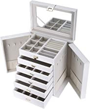 SortWise ® Large Leather Jewelry Box Table Top Jewelry Chest 6 Layers and Removeable Drawers/White