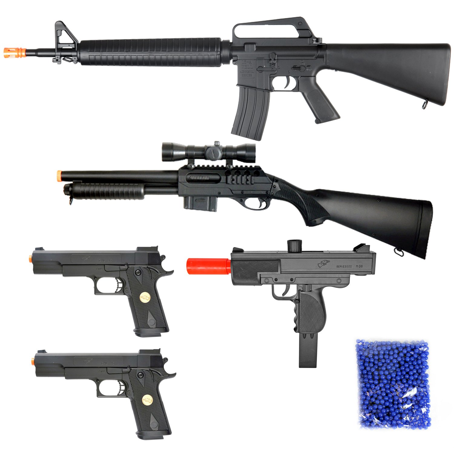 BBTac Airsoft Package - Lot of 5 Airsoft Guns Sniper Rifle Shotgun Machine  Pistols & 1,000 6mm Bbs