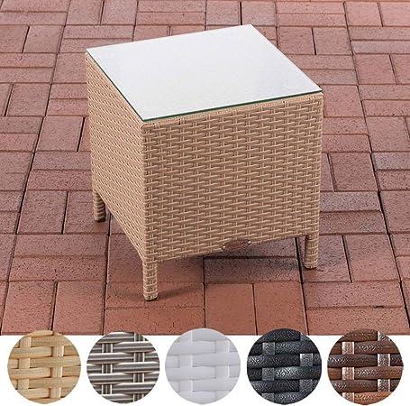 blumfeldt Tabula Marron Table dappoint en rotin synth/étique de 43cm de Haut avec Plateau en Verre de 50cm de diam/ètre