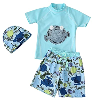 67ba6f9d1b AoMoon Baby Boys Cute Two Pieces Short Sleeve Swimwear Sunsuit Carton  Swimsuit with Caps