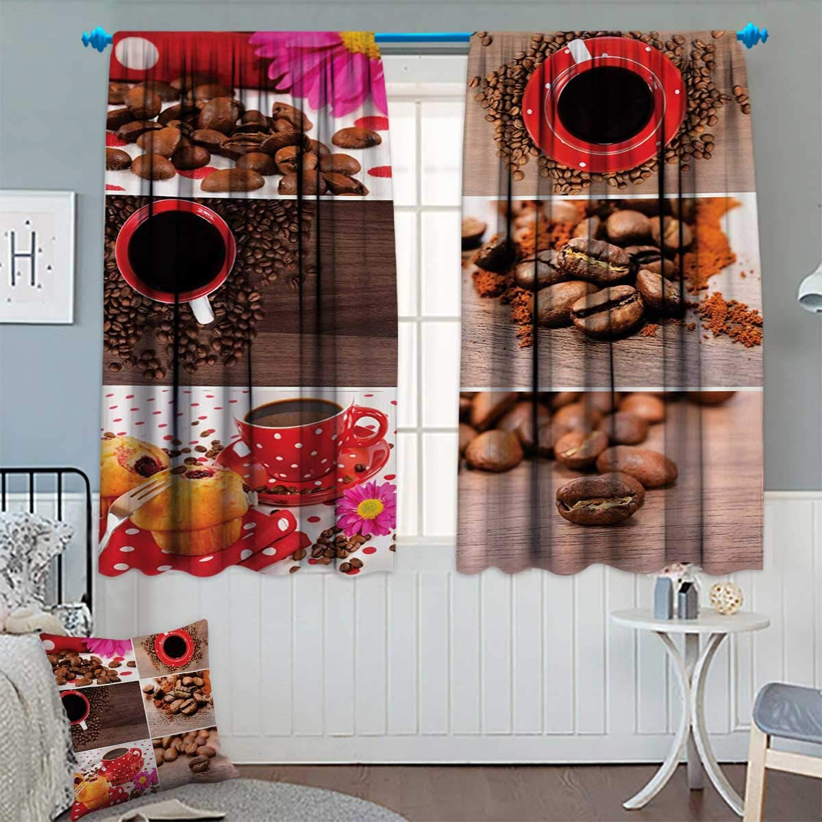 "Kitchen Room Darkening Curtains Coffee Themed Collage of Mugs Polka Dots Flowers Beans Muffins Close Up Photography Decor Curtains by 55"" W x 45"" L Brown Red"