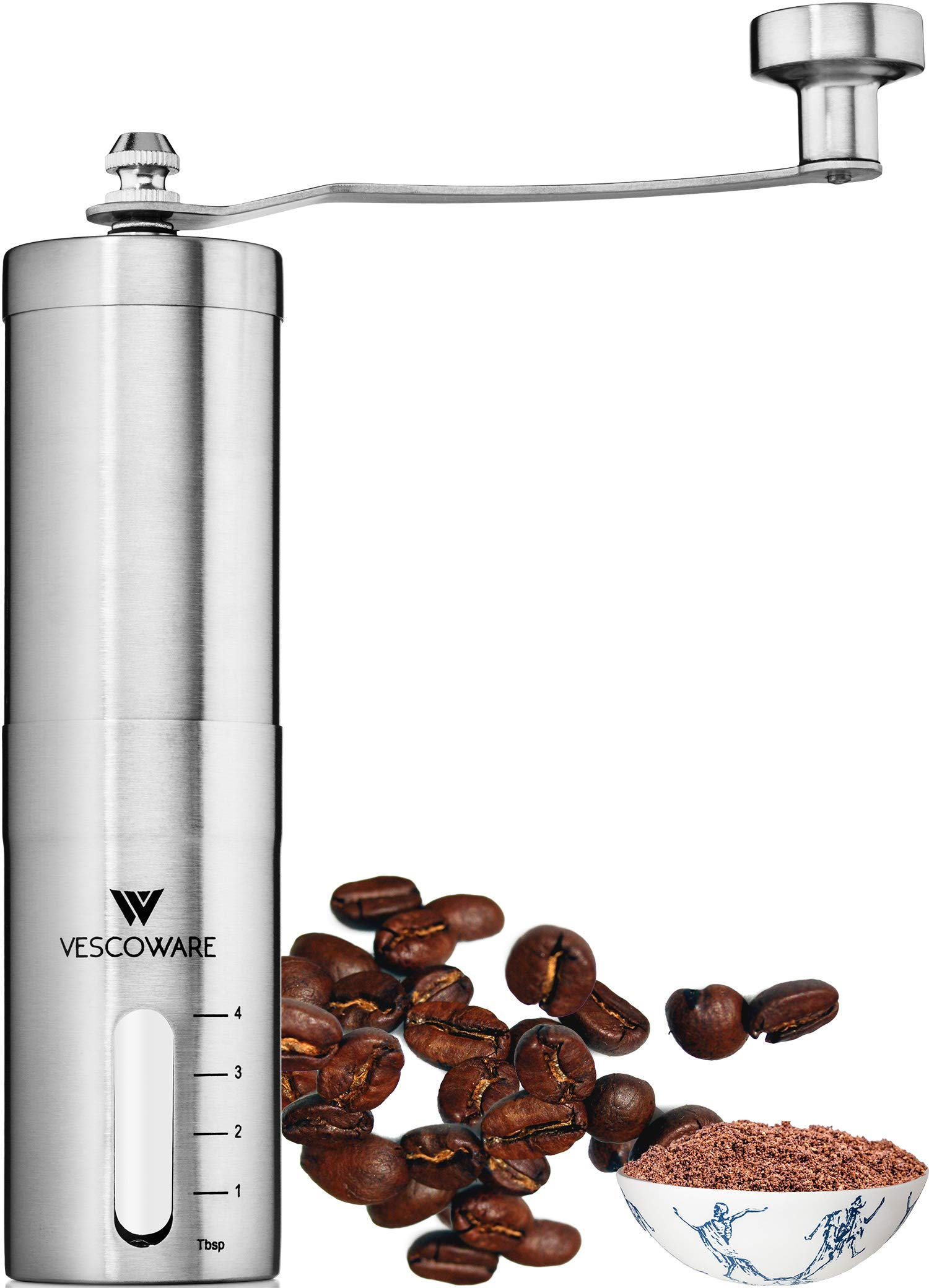 Manual Coffee Grinder with Conical Burr - Hand Bean Mill with Adjustable Settings for Espresso, French Press, Cold & Turkish Brew - Stainless Steel