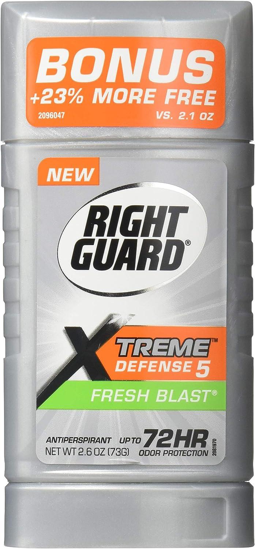 Right Guard Xtreme Defense 5 Anti-Perspirant & Deodorant, Fresh Blast 2.6 Oz (Packs of 6)