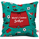 Indigifts 'World's Coolest Brother' Printed Micro Satin Sea Green Cushion Cover With Filler