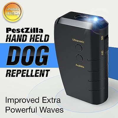 PestZilla Handheld Dog Repellent and Trainer + LED Flashlight/Ultrasonic Dog Deterrent and Bark Stopper + Dog Trainer Device