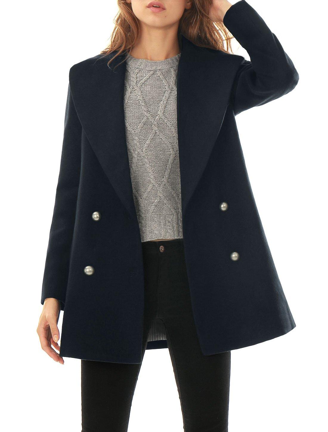 Allegra K Women's Notch Lapel Collar Double Breasted Coat XL Blue