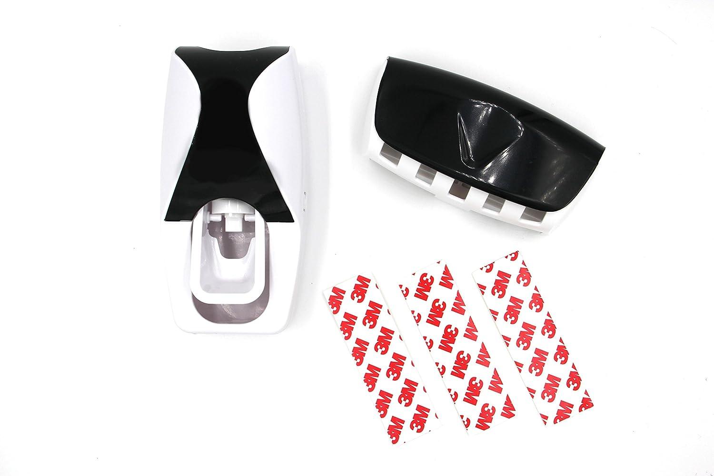 TidyZone - Soporte higiénico con dispensador de pasta de dientes y soporte para cepillo de dientes, fácil de usar, hasta 5 cepillos de dientes, ...