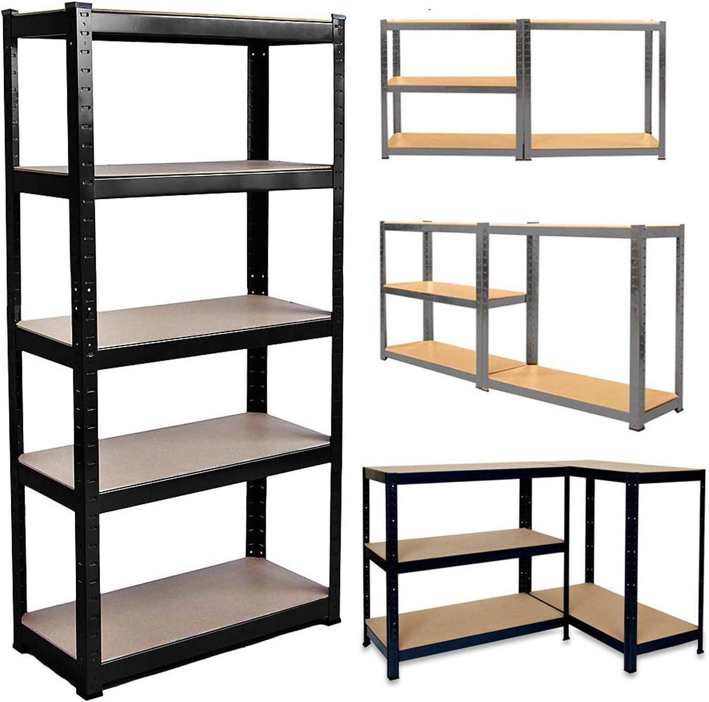 1Pcs 150cm x 70cm x 30cm 5 Tier Heavy Duty Metal Shelving, Racking Storage Unit, Galvanised(175KG Per Shelf), 875KG Capacity Garage Shed Storage Shelving Units,