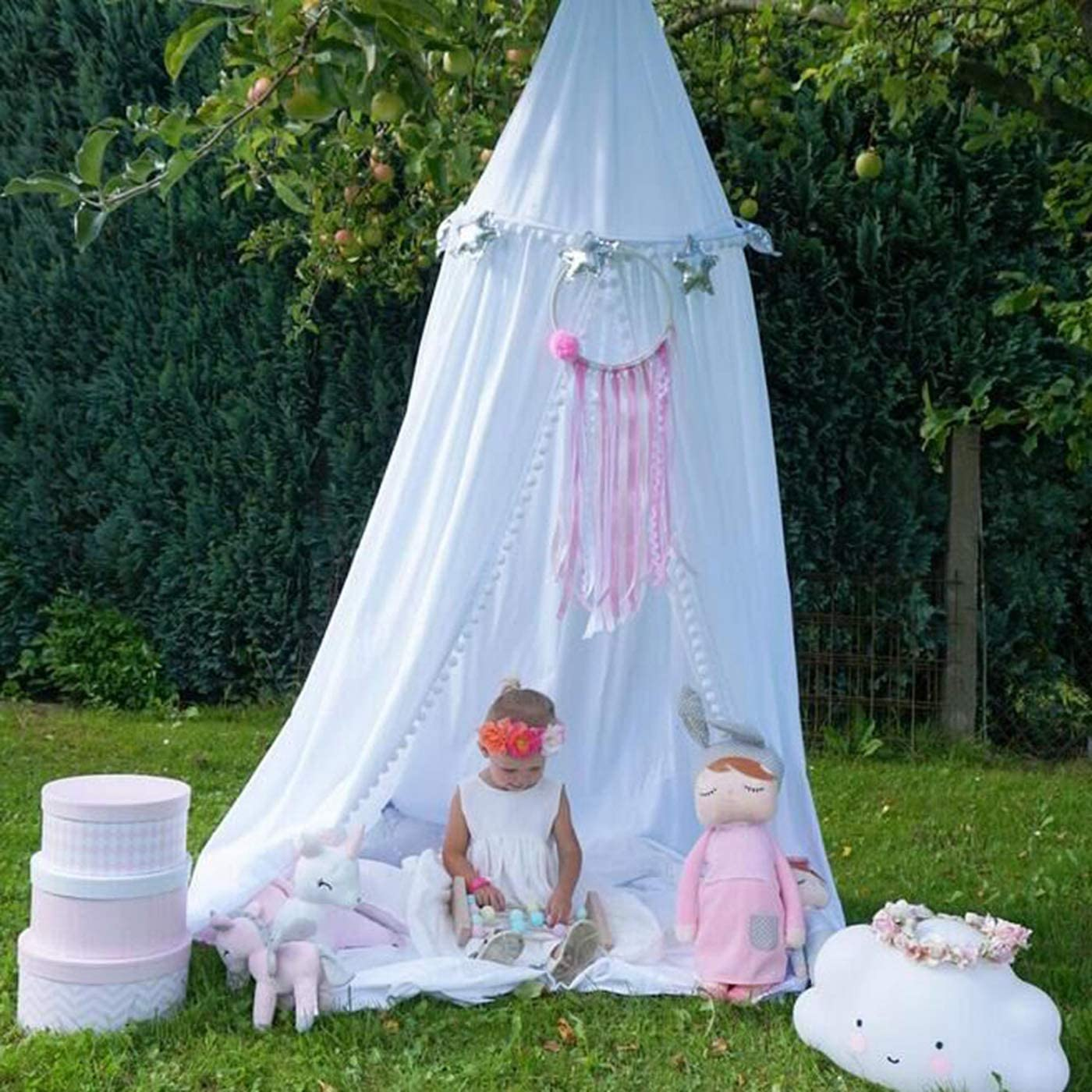 BAIHUODRESS Bed Canopy for Children Round Dome Cotton Mosquito Net Kids Princess Play Tents Room Decoration Indoor Outdoor Playing Games House Reading//Crib Nook Height 245cm//96.5