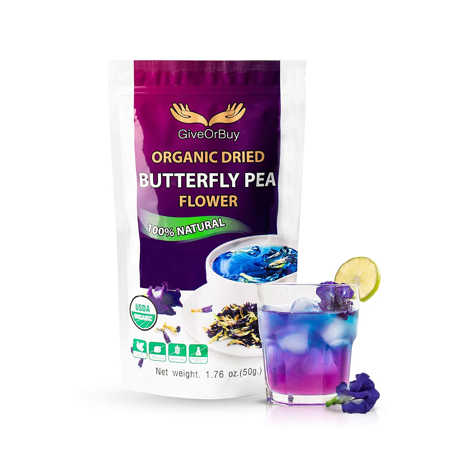 Butterfly Pea Flower 1.75 Oz - Organic Dried Butterfly Pea Flowers Gluten Free Sugar Free Vegan Rich Healthy Herbal Butterfly Pea Tea - Butterfly Tea For Drinks, Food Coloring By Giveorbuy