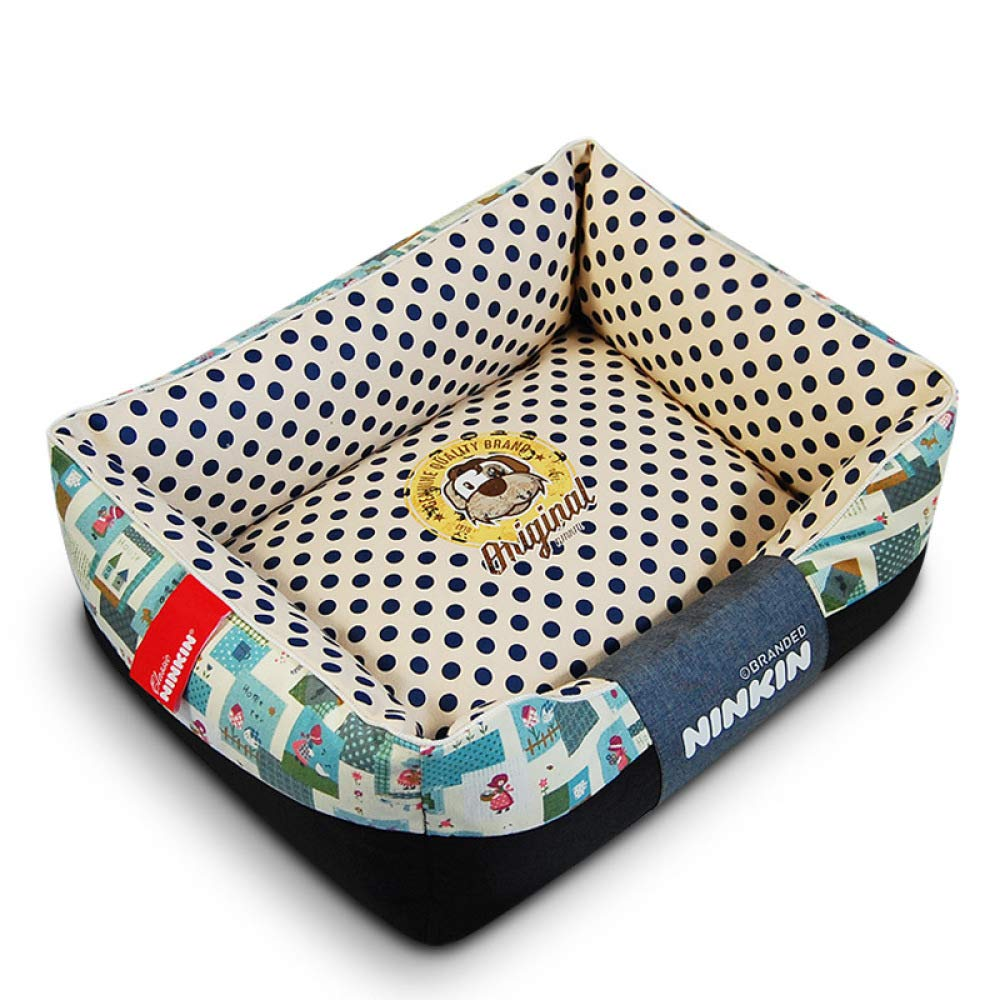 B Medium B Medium QJKai Pet supplies cotton canvas square kennel cat bed pet nest