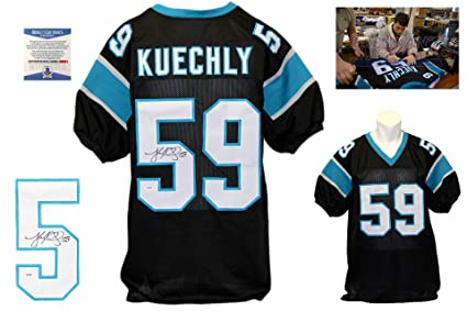 quality design db436 39a85 Luke Kuechly Signed Custom Jersey - Beckett Authentic - Blue