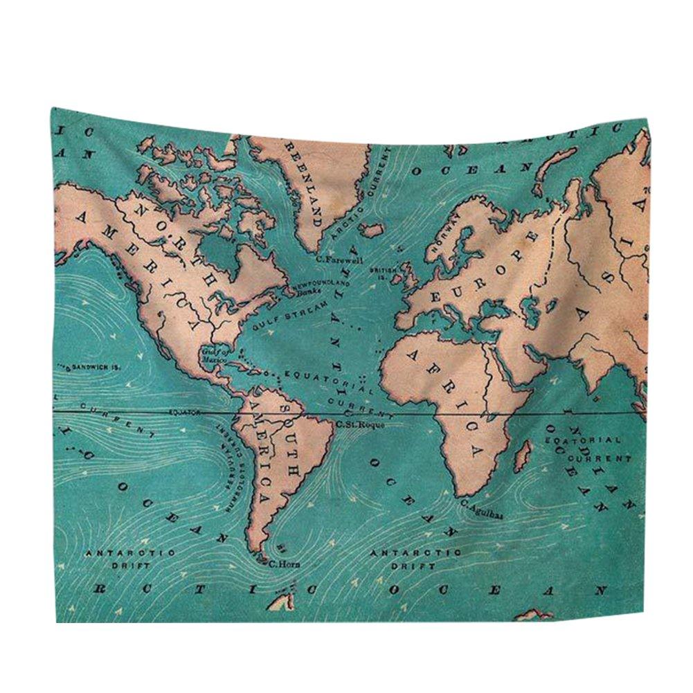 Jancery 1PC arazzo mappa del mondo parete panno blu oceano Wall Hanging Watercolor Home Decor Wall Art per soggiorno camera da letto dormitorio A