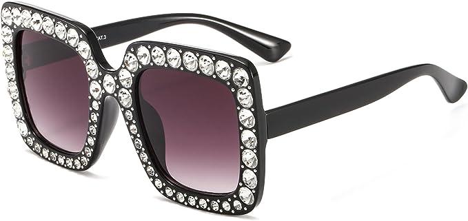 NEW Brown Oversize Square Frame Bling Rhinestone Sunglasses Women Fashion Shades