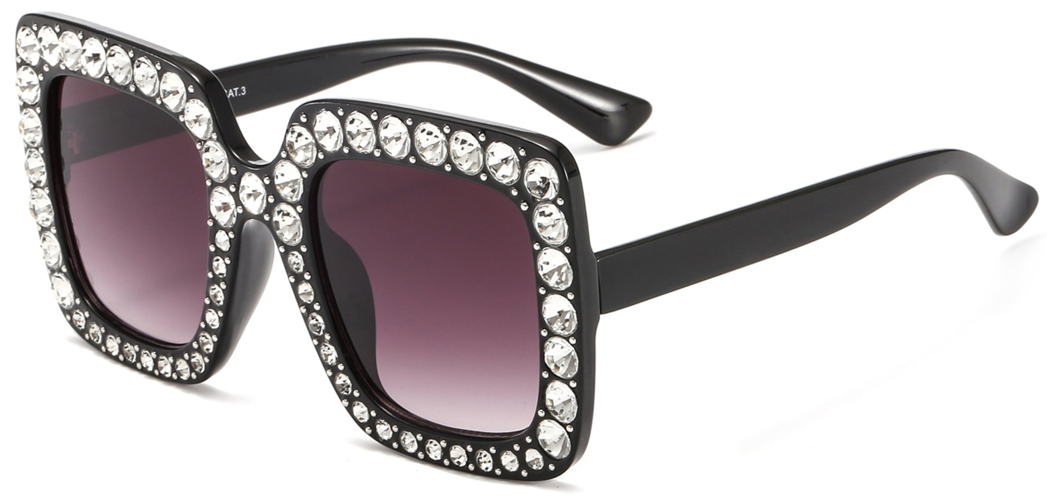 67616f87857 NEW Gucci GG0434S 001 Black Square Frame Grey Sunglasses Authentic.   255.00. MAOLEN Square Oversized Gradient Shades Crystal Sunglasses for  Women(square ...