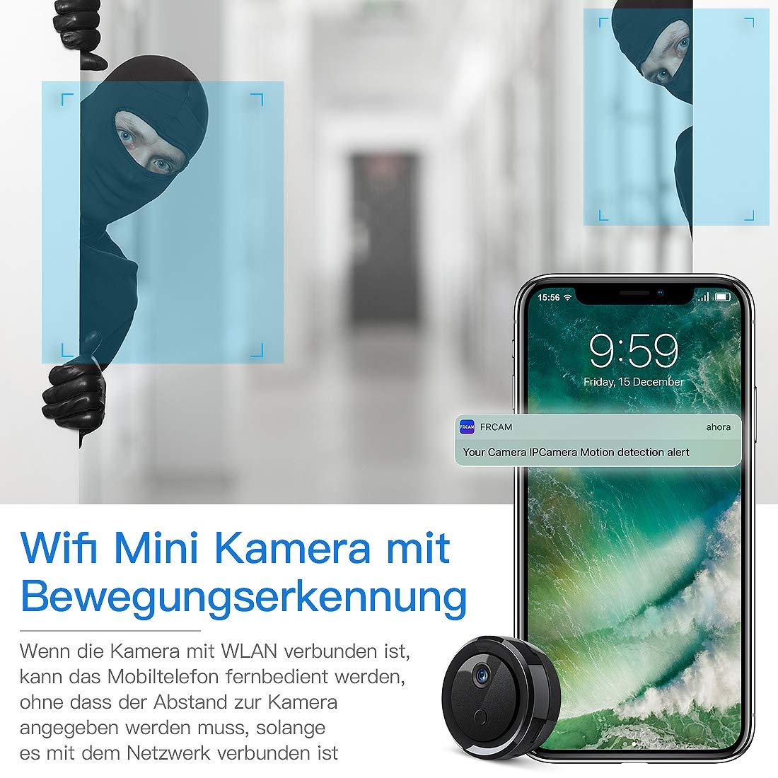 Mini cámara de vigilancia WiFi HD 1080p, Fredi Bluetooth ...