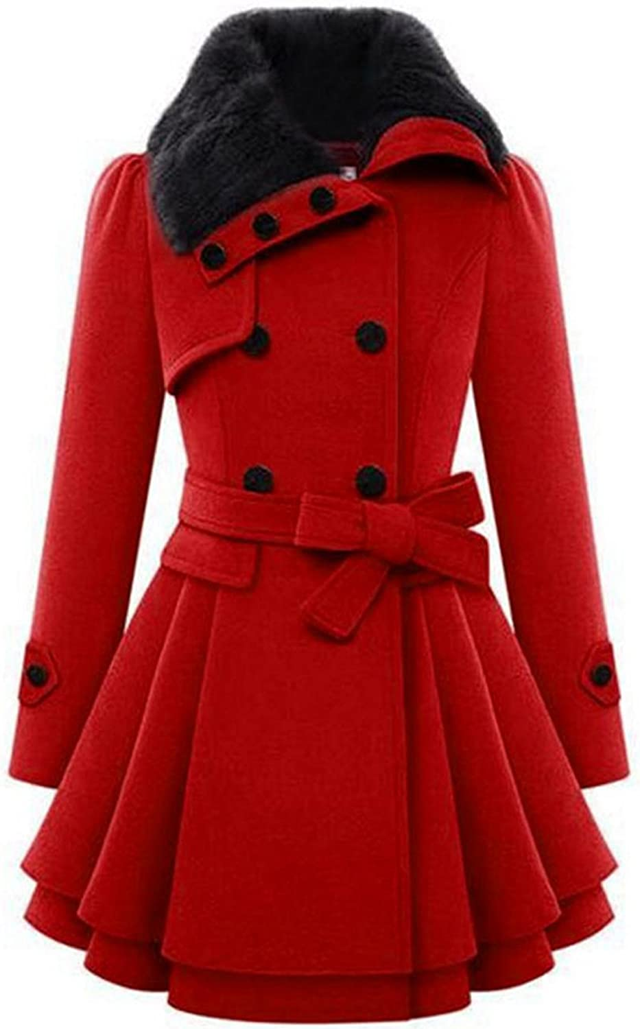 Zeagoo Women's Fashion Faux Fur Lapel Double-Breasted Thick Wool Trench Coat Jacket