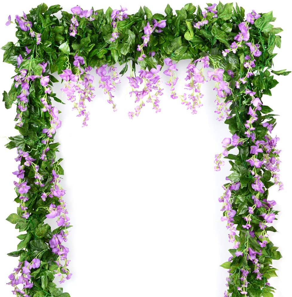 Wisteria Garland Artificial Silk Wisteria Vine 5pcs 7.2ft/Piece Ivy Leaves Garland Wisteria Artificial Flowers Hanging Plants Greenery Fake Vines for Wedding Garland Arches Home Party Decor(Purple)