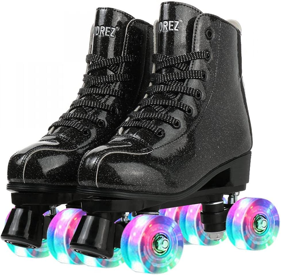 Buric Roller Skates for Girls Shining Large special price PU High-top Fees free!! Leather