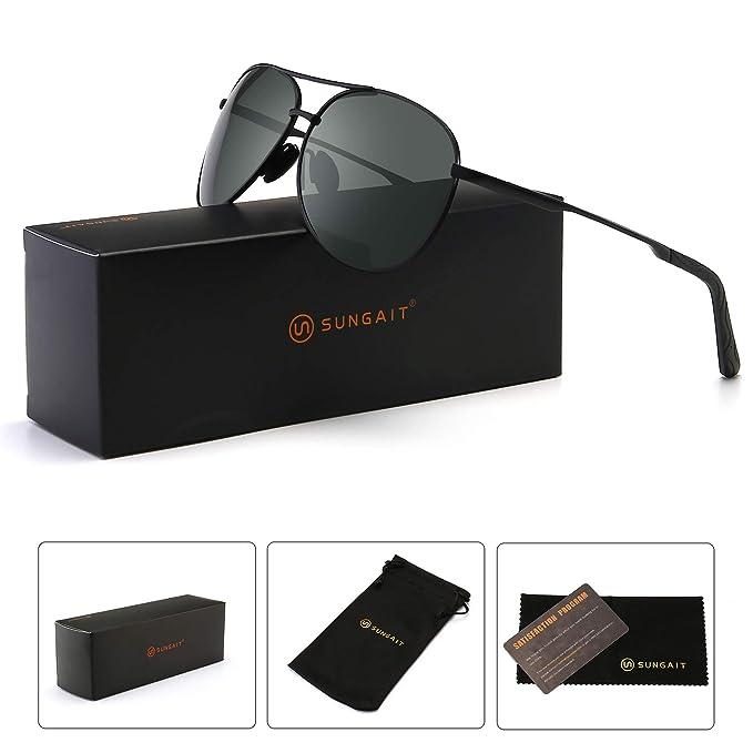 1b9c8b711c242 SUNGAIT Premium Military Style Classic Aviator Sunglasses with Spring Hinges  (Black Frame Grey Lens)