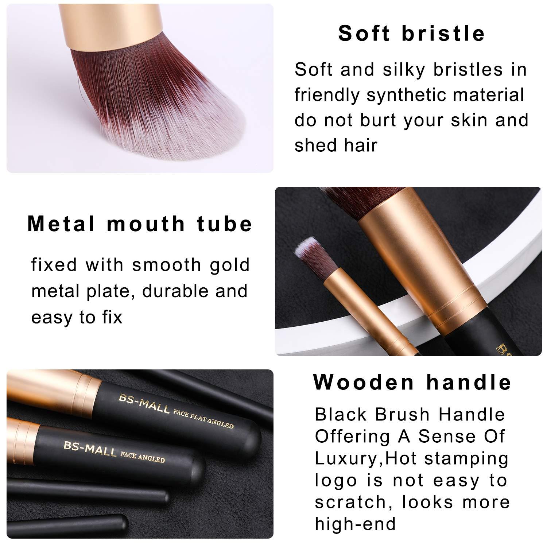 BS-MALL(TM) Makeup Brushes Premium Makeup Brush Set Synthetic Kabuki Cosmetics Foundation Blending Blush Eyeliner Face Powder Brush Makeup Brush Kit (10pcs, Golden Black): Beauty