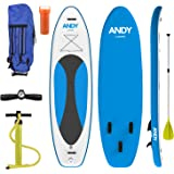 Inflatable Paddle Board - Low Profile 10 Foot Stand Up SUP Board with Squared Tail - Adjustable Paddle and High Pressure Pump Included
