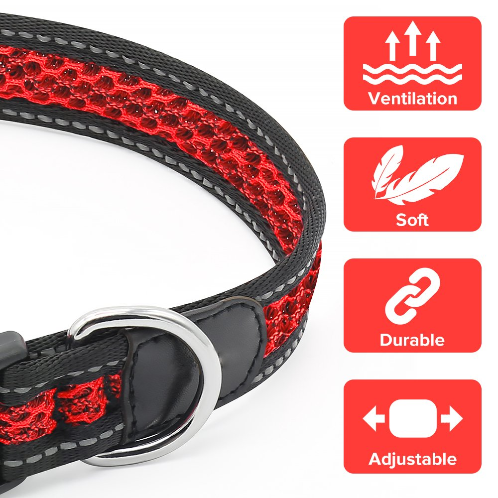 Reflective Dog Collar, Adjustable Waterproof Soft Mesh Fabric Pet Collars for Small, Medium, Large Dogs (M, RED)
