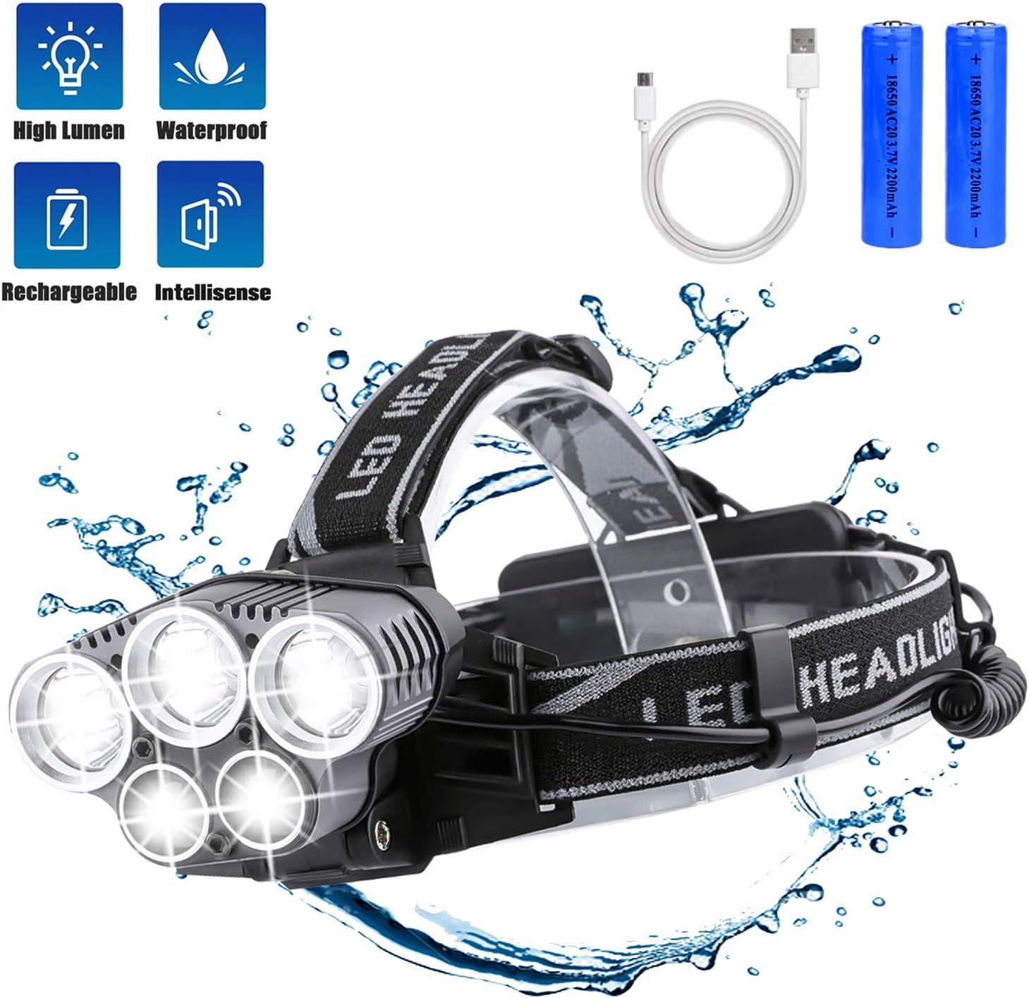 BETECK Lámpara de Cabeza LED USB Recargable Alta Potencia 15000LM, Linterna Frontal 5 LED 6 Modos IPX4 Impermeable para Camping, Pesca, Ciclismo, Carrera, Caza