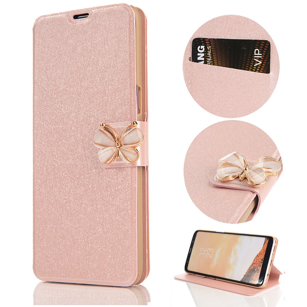 Stysen Wallet Case for iPhone 8 4.7'',Shiny Silk Pattern Rose Gold Pu Leather Bookstyle Strass Butterfly Buckle Protective Wallet Case Cover for iPhone 8 4.7''/7 4.7''-Butterfly,Rose Gold