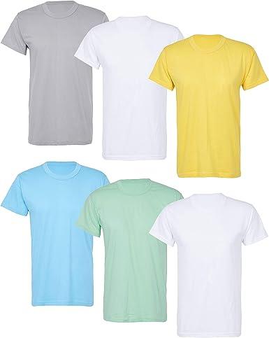 TALLA XXL. US Style MioRalini 6 Camisetas para Hombre 100% algodón Camisetas