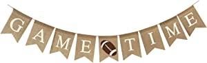 Sports Theme Banner - Football Game Time Banner for Party Decoration and Birthday Supplies, Burlap Banner for Football Bulletin Board Decorations