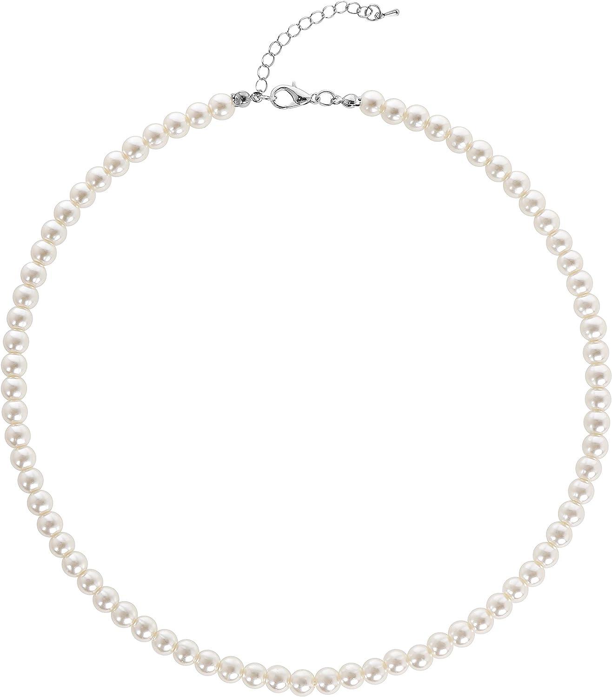 BABEYOND - Collar redondo de perlas de imitación para novias, color blanco