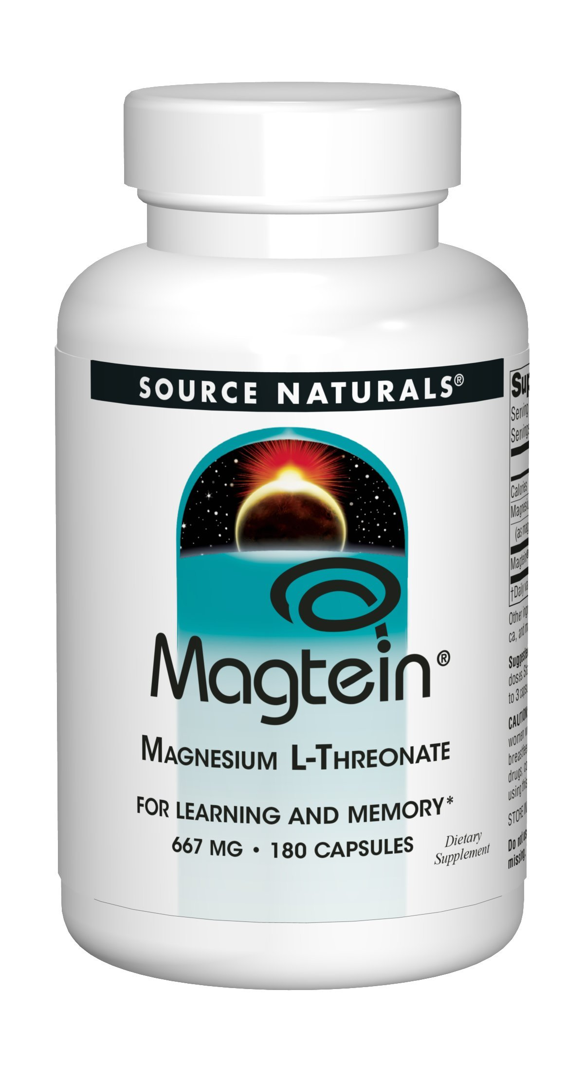 Magtein Source Naturals, Inc. 180 Caps (667 MG)