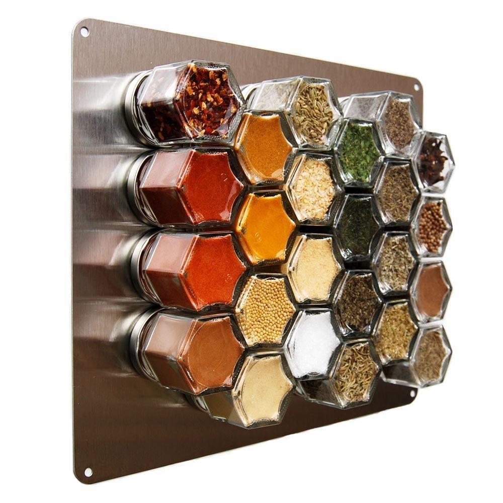 """Gneiss Spice - Portaspezie magnetico da parete, in acciaio inossidabile, 24,4 x 30,5 cm (10 x 12""""), con placca magnetica e barattoli (non inclusi)- 5 cm (10 x 12)"""