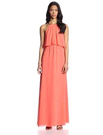 Vince Camuto Women's Halter Maxi with Front Slit, Georgia Peach, 6