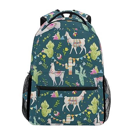 7954bc4bc9c8 Image Unavailable. Image not available for. Color  TropicalLife Cute Animal  Llama Alpaca Cactus Backpacks School Bookbag Shoulder Backpack Hiking Travel  ...