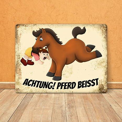"""Schild /""""launisches Pferd/"""" Betreten auf eigene Gefahr Pferd beißt und schlägt"""