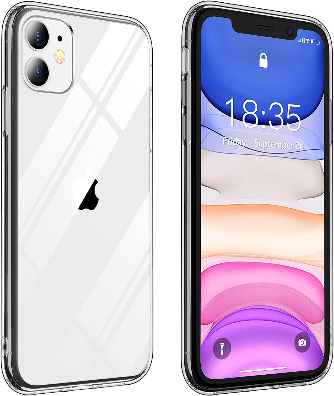 Vapesoon Compatible with iPhone 11 Case, Crystal Clear TPU+Hard PC Protective Slim Shockproof Case Cover for iPhone 11 (6.1Inch) (Clear/Black)