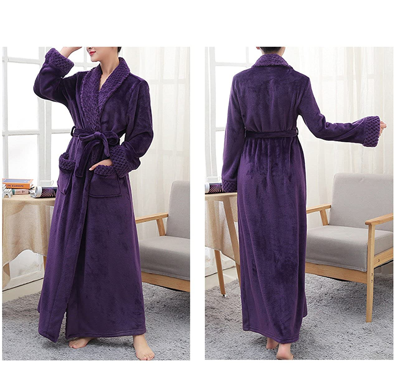 Women s Men s Unisex Fall Winter Flannel Cozy Home Bathrobe Bathrobe  Pajamas Thick Warm Long Large Size Bathrobe Thicken Long b62effe0a