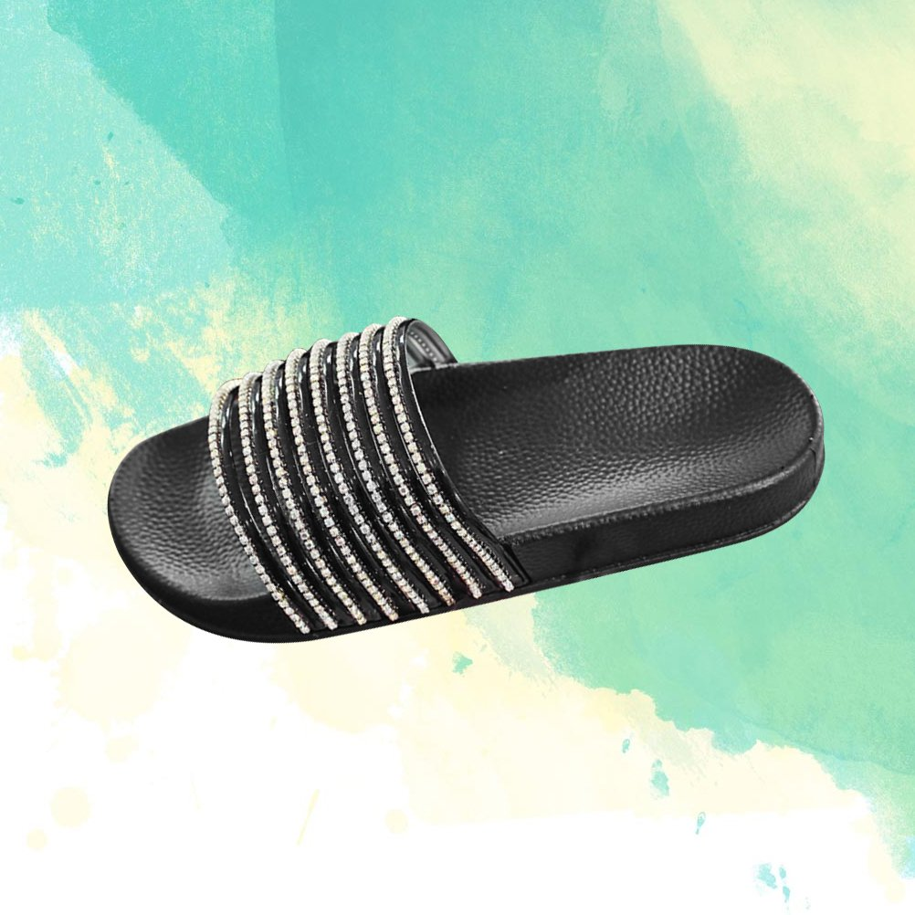6e0c452b6 Amazon.com: Diamond Stripe Bling Slippers Summer Women Slippers Beach Slides  Flip Flops Ladies Sandals Casual Shoes(Black 38): Clothing