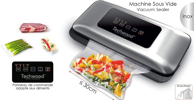 Fruits TSV-3066i Appareil de Mise sous Vide Machine de Scellage pour Aliments,Viandes,L/égumes 20 Sacs Inclus Techwood INOX Digital Automatique