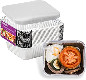 20 Pack Aluminum Pans Disposable Take Out Food Containers with Lids - 1 LB Heavy Duty Tin Foil Pans- 5.5