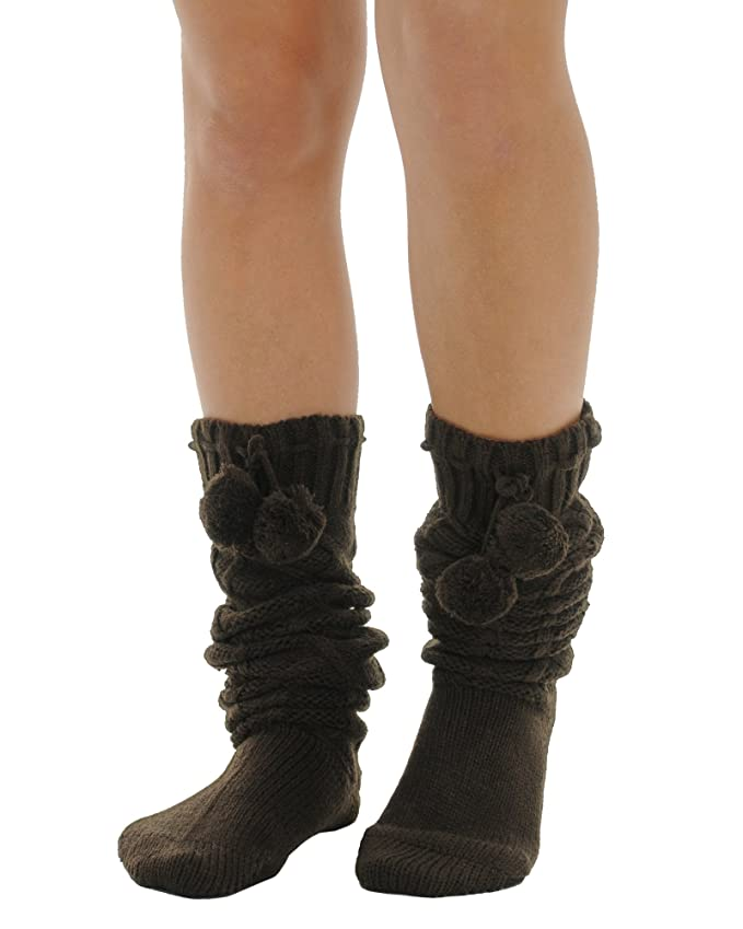 4527e2f83 Amazon.com  Womens Brown Over the Knee Socks Pom Poms Boot Socks Diamond  twist pattern  Clothing