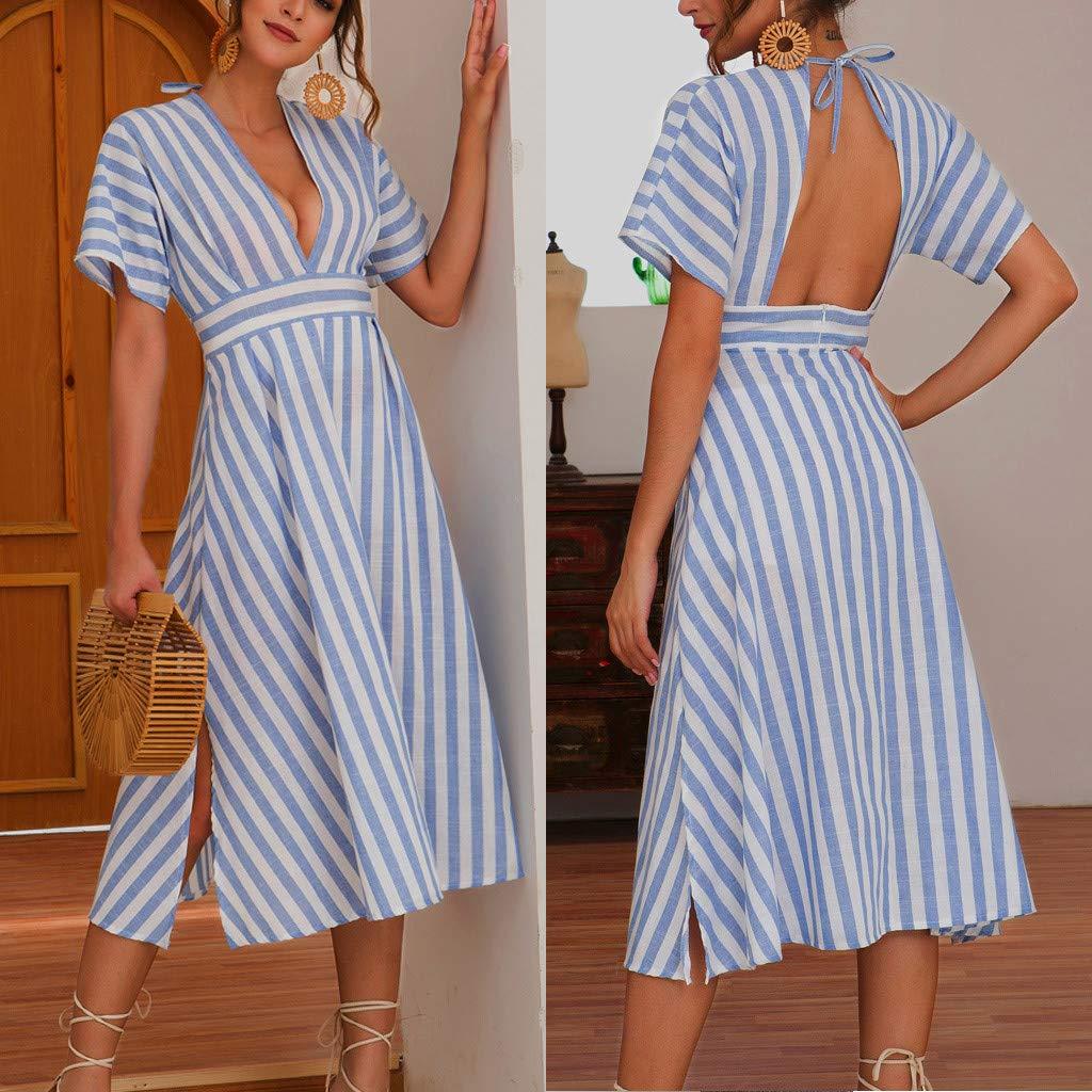 HevoiokWomens Fashion Cotton and Linen V-Neck Short-Sleeved High-Waist Striped Dress Bohemian Summer Sun Protection Clothing